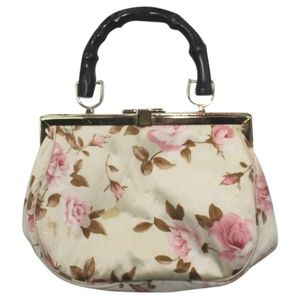 Banana Republic Floral Print Bamboo Handle Satchel